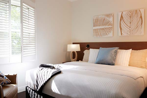 large bedroom at Oaks Cypress Lakes Hunter Valley resort