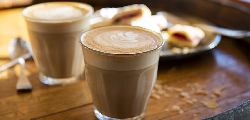 Bistro flat white coffee at Bistro and Bar Restaurant Oaks Cypress Lakes Resort