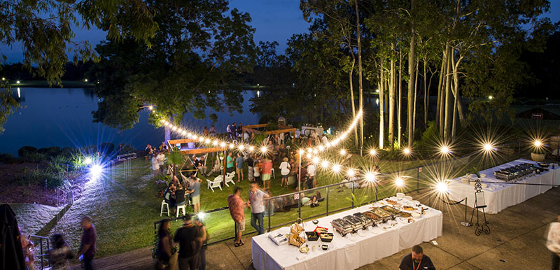 outdoor event evening with lighting furniture and catering in hunter valley nsw