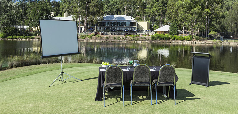 small venue for hire with whiteboard and speaker stand for MC in hunter valley