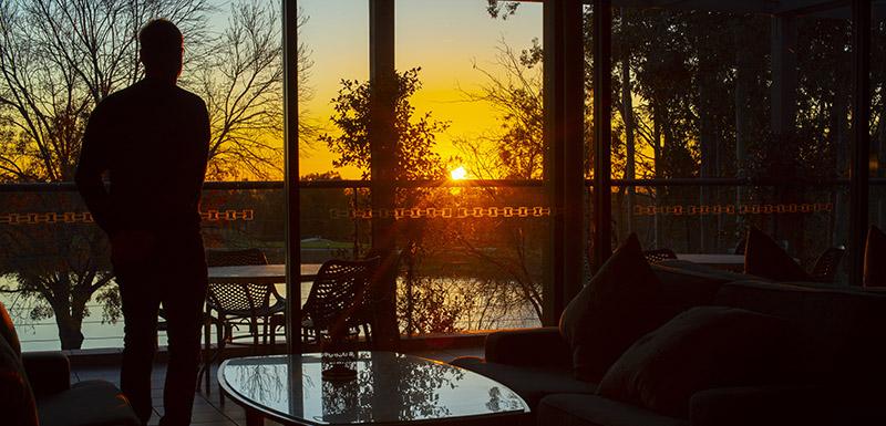 Event lounge sunrise at Oaks Cypress Lakes Resort