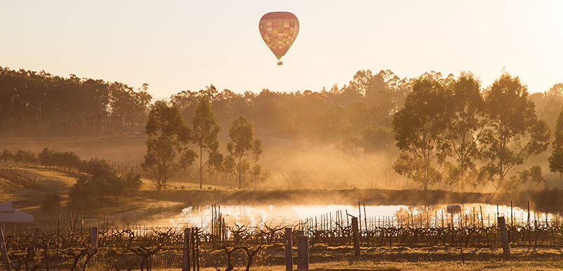 hot air balloon flying over lake in hunter valley at sunrise