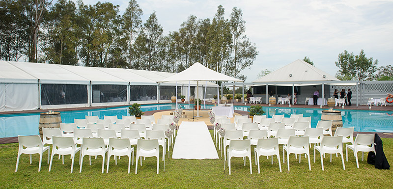Cypress Lakes Resort Hunter Valley wedding outdoors lagoon pool and marquee