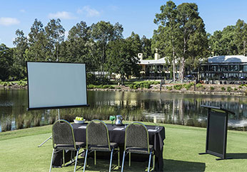 outdoor meeting venue for hire in hunter valley whiteboard chairs table