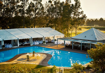 large outdoor pool with catering services for events hunter valley