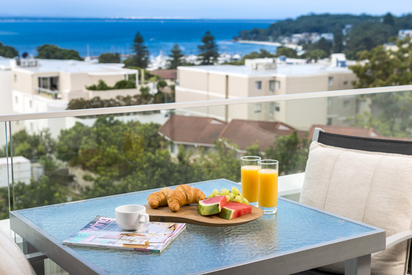 Best Nelson Bay hotels apartment balcony with view of ocean from Oaks Lure Port Stephens NSW