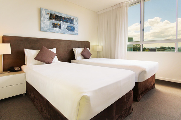 second bedroom in 2 bed apartment oaks lure port stephens hotel accommodation