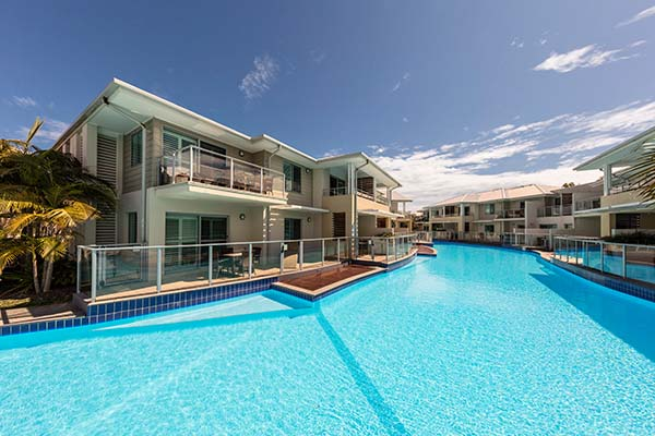 Australia's largest swimming pool at oaks pacific blue resort Port Stephens accommodation New South Wales