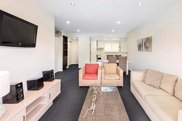 air conditioned living room area at port stephens resort