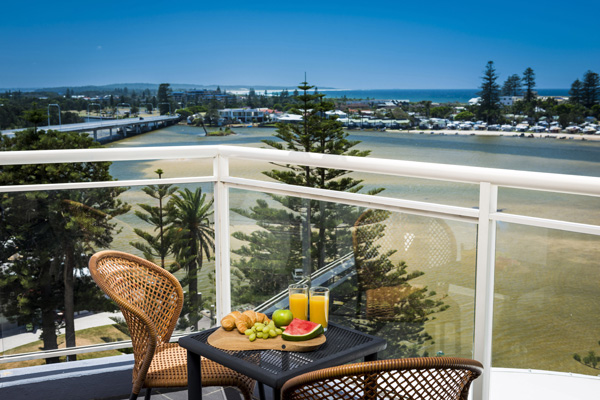 1 bedroom ocean view apartment balcony view of The Entrance and Tuggerah Lake