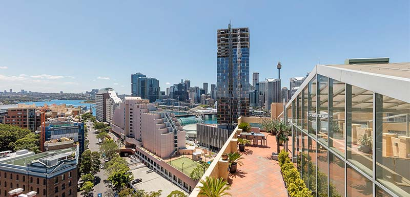 rooftop view at oaks goldsbrough darling harbour sydney hotel
