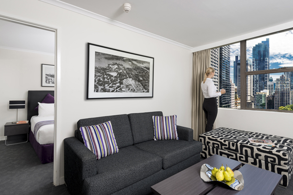 Corporate Traveller On Business Trip Looking Out Of Window Hyde Park Hotel 1 Bedroom Executive