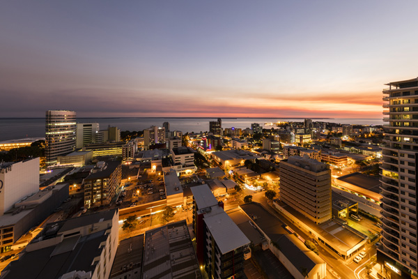 aerial view of Darwin city at sunset with view of harbour and ocean