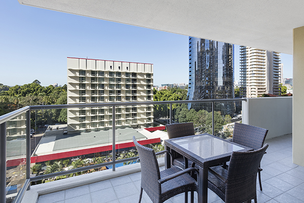 Big balcony at hotel apartment on Margaret St in Brisbane city