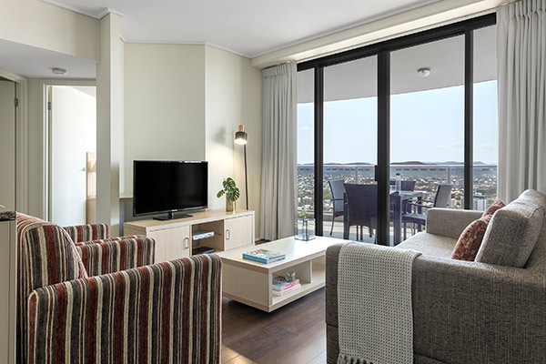 Oaks Brisbane Aurora Suites Living Room