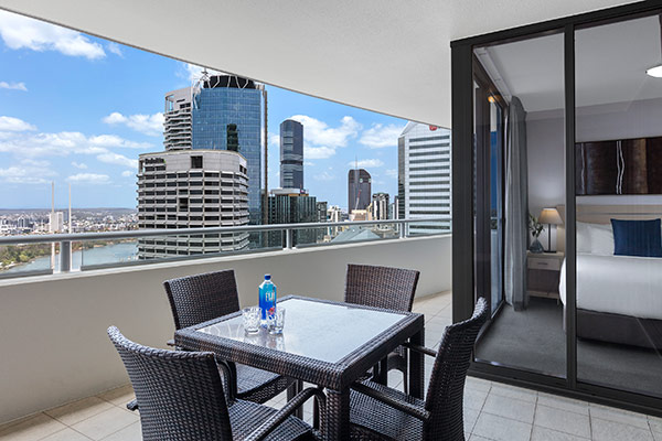 Oaks Brisbane Aurora Suites 2 Bedroom River View Balcony