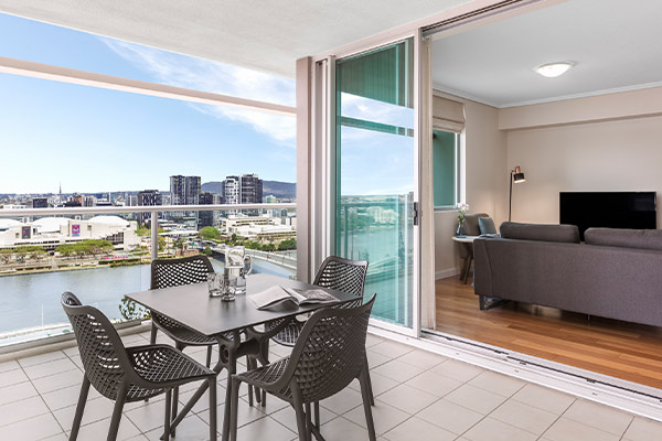 Balcony overlooking Brisbane river at Oaks Brisbane Casino Tower Suites  1 Bedroom Executive  connected to the living room