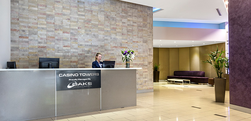 reception lobby at oaks brisbane casino tower suites