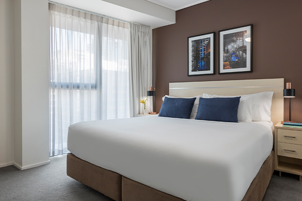King sized Bedroom at Oaks Brisbane Felix Suites 1 Bed Apartment