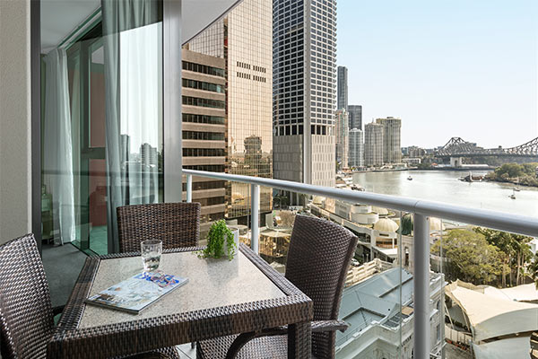 Oaks Brisbane on Felix Suites 1 Bedroom Executive Refurbished Balcony with Brisbane River and Story Bridge View