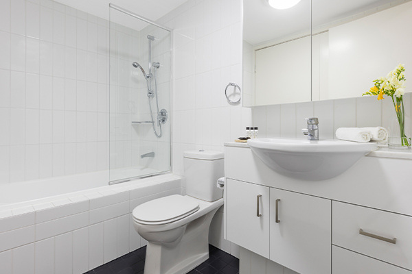 Oaks Brisbane on Felix Suites 2 Bedroom Refurbished Bathroom One with bathtub