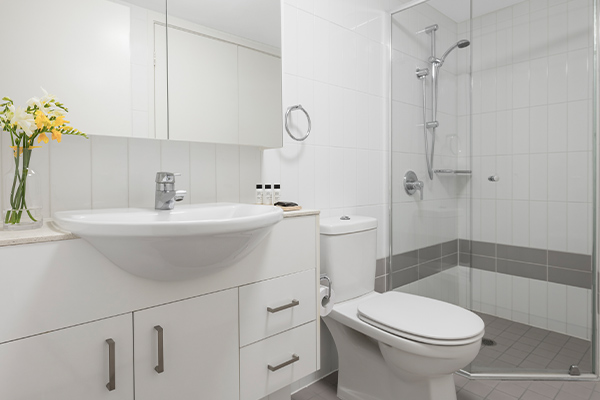Oaks Brisbane on Felix Suites 2 Bedroom River View Bathroom