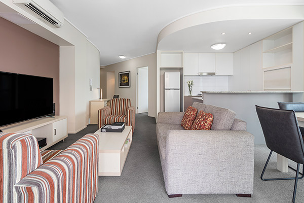 Oaks Brisbane on Felix Suites 2 Bedroom River View Living