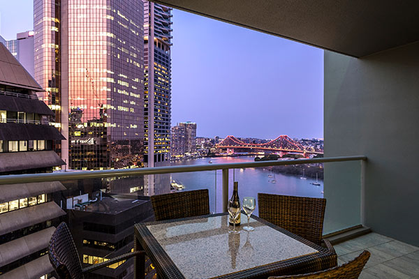 Oaks Brisbane on Felix Suites 2 Bedroom Story Bridge View Balcony at night