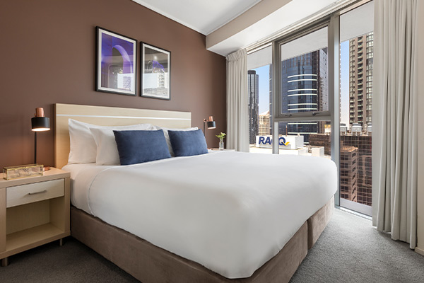 Oaks Brisbane on Felix Suites 2 Bedroom Story Bridge View Bedroom one with king sized bed and nice city view