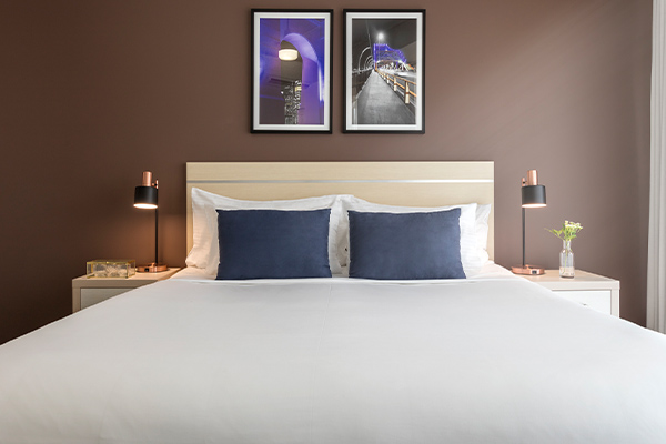 Oaks Brisbane on Felix Suites 2 Bedroom Story Bridge View Bedroom one with king sized bed