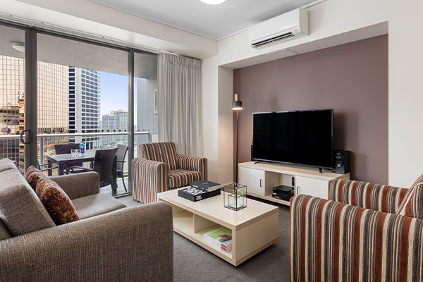 Oaks Brisbane on Felix Suites 2 Bedroom Story Bridge View Living Room and Balcony with nice city view