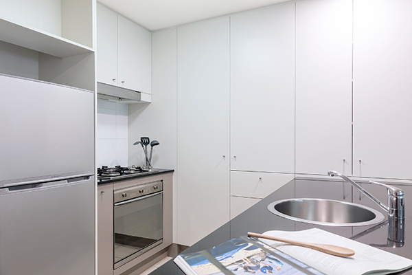 fully equipped kitchen at Oaks Brisbane on Felix Suites 2 Bedroom Story Bridge View