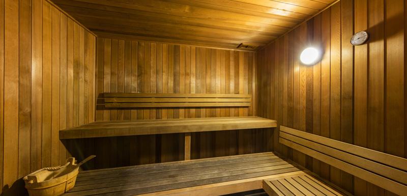 Sauna inside Oaks Festival Towers Hotel on Albert St in Brisbane city centre near Queen St Mall