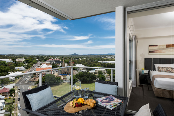 2 bedroom apartment balcony with views of Ipswich QLD at Oaks Aspire hotel