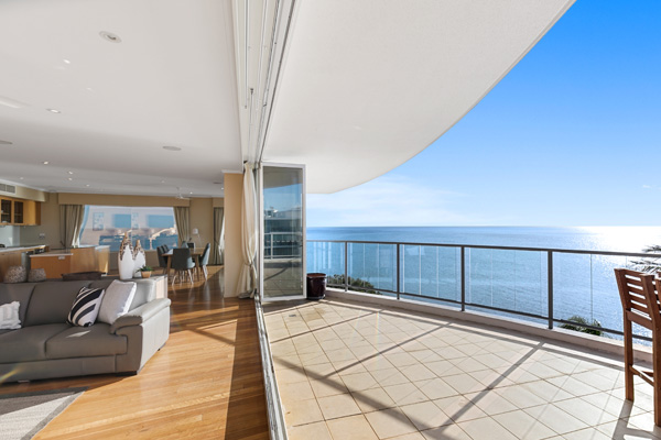 Large penthouse balcony with ocean views at Hervey Bay resort