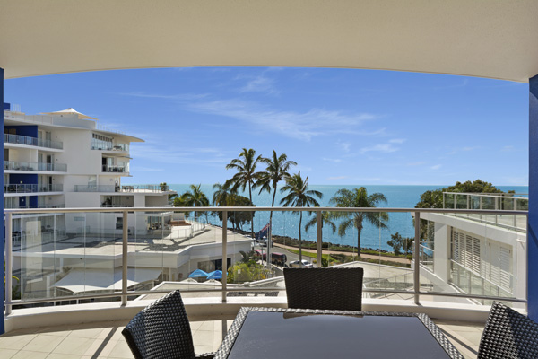 Big balcony with ocean views in Hervey Bay resort 3 bedroom holiday apartment