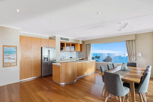 Big entertainment area in 3 Bedroom Penthouse of Oaks Hervey Bay resort