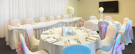 beautiful table settings in St George room affordable wedding venue for hire on Sunshine Coast