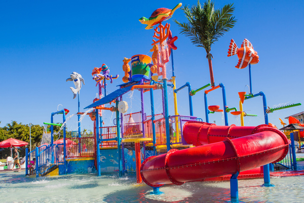 slide and jungle gym at popular, child friendly waterpark at Oaks Oasis Resort in Caloundra on Sunshine Coast, Queensland, Australia
