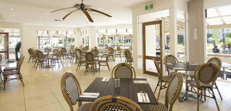 dining room with tables, chairs, air con and ceiling fans at famous Reflections Restaurant and Bar in Caloundra on Sunshine Coast, Queensland, Australia