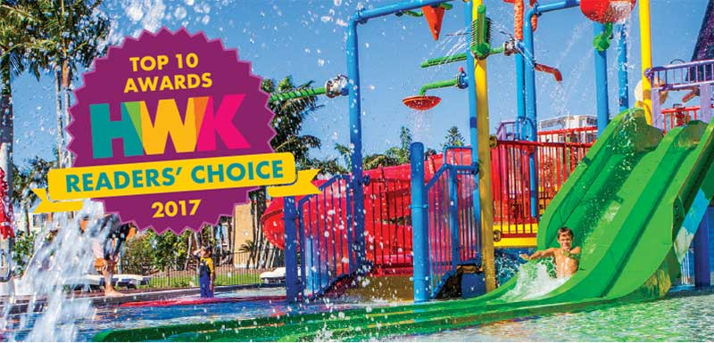 top 10 awards HWK  readers' choice 2017 to oaks oasis resort with fun waterpark in caloundra, sunshine coast queensland australia