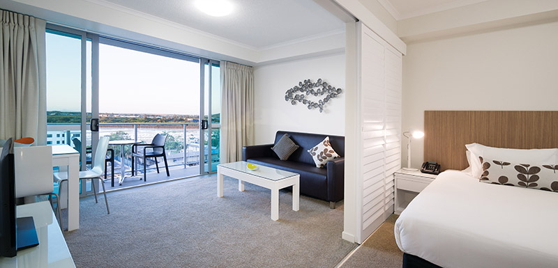 open plan 1 bedroom hotel apartment with TV and air con at Oaks Rivermarque in Mackay, Queensland, Australia