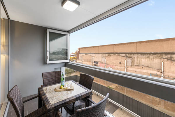 healthy vegetarian hotel lunch on private balcony of 2 bedroom apartment at iStay Precinct hotel in Adelaide city, South Australia