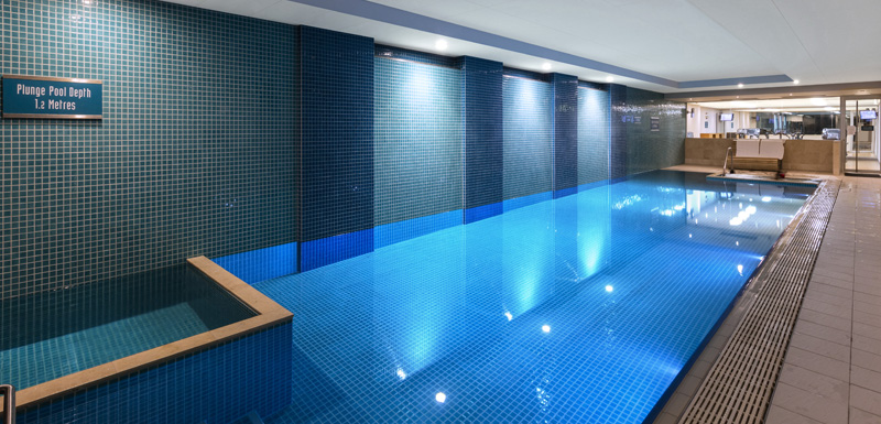 large indoor swimming pool for guests, couples and families staying at beachfront hotel Oaks Plaza Pier in Glenelg, South Australia