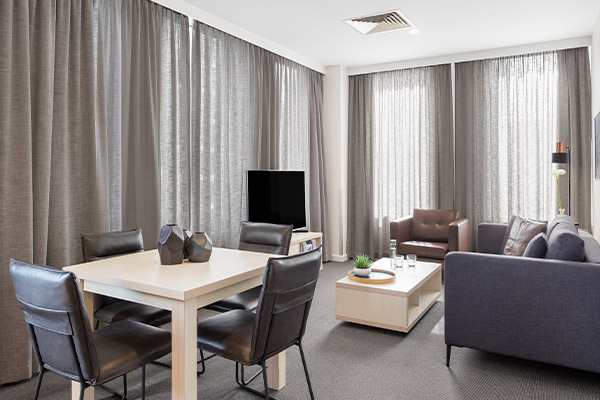 Oaks Melbourne on Market Hotel 2 Bedroom Living Dining