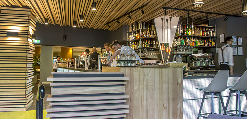 bar with gin, beer, rum, vodka and wine at popular Oak and Vine restaurant at Oaks on Market hotel in Melbourne city, Victoria, Australia