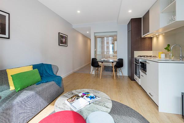 Oaks Melbourne Southbank Suites 1 Bedroom Living