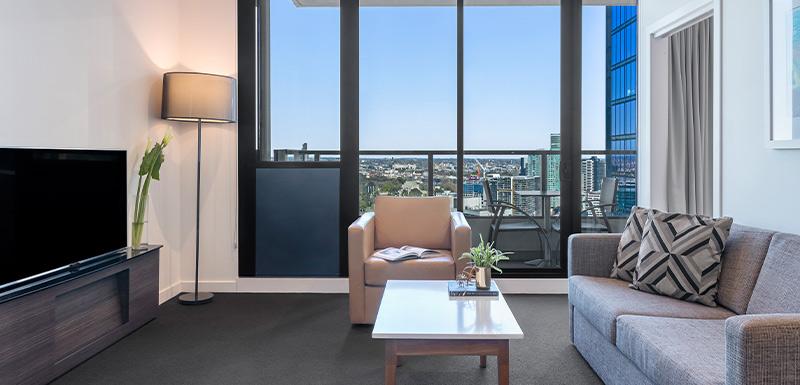 Oaks WRAP on Southbank Bedroom Living