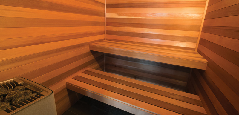 hotel guest enjoying relaxing sauna at WRAP On Southbank hotel in Melbourne city, Victoria, Australia