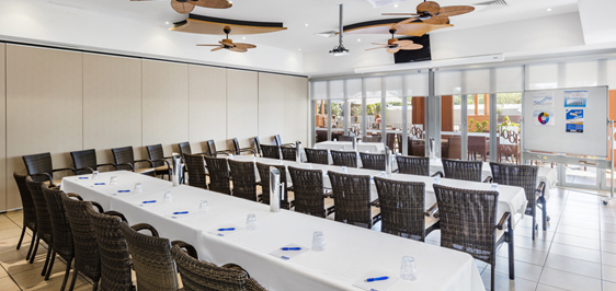 big air conditioned meeting room for hire in Broome with Wi-Fi and catering available for conferences
